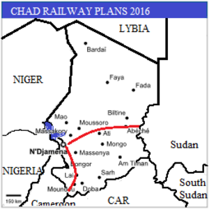 Rail transport in Chad - Map of the proposed Railway System in Chad.(Routes indicative).