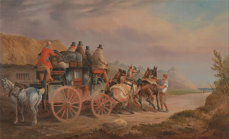 File:Charles Cooper Henderson - Mail Coaches on the Road- the `Quicksilver' Devonport-London Royal Mail about to Start with a new Te... - Google Art Project.jpg