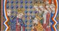 Charles de Navarre pardonné par Jean le Bon grâce au soutien de Blanche de Navarre et Jeanne d'Evreux.png