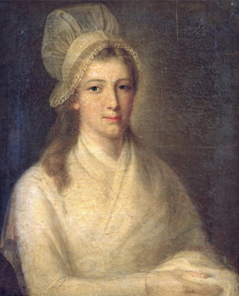 Portrait of Charlotte Corday painted in the condemned cell by Jean-Jacques Hauer