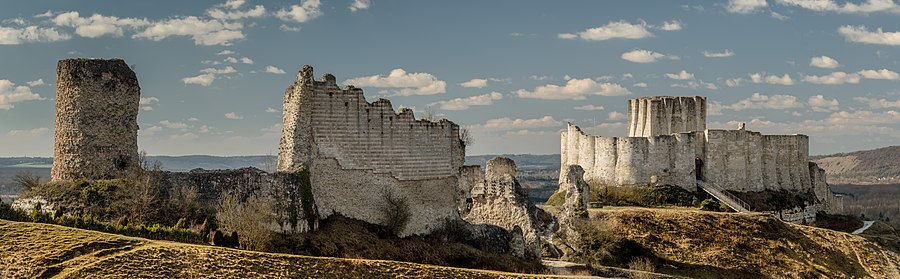 The Ruins Of Château Gaillard From West Keep Is On Right And Outer Bailey Including Remains Some Towers