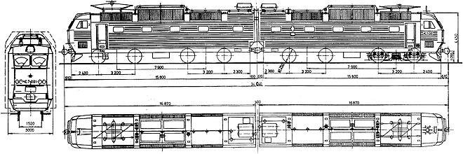 Основные размеры электровоза