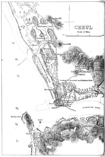 19th century British map of Chaul. The forces of Ahmadnagar were unable to prevent the Portuguese from reinforcing the city by sea. Cheul.jpg