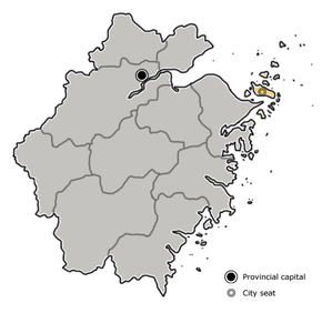Zhoushan is highlighted on this map