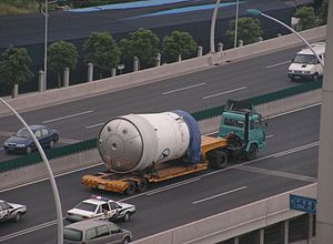 Chinese space program - Launch vehicle being transported on highways in Shanghai