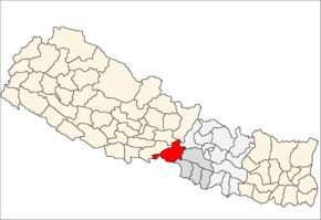 Chitwan District i Narayani Zone (grå) i Central Development Region (grå + lysegrå)