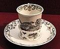 Chocolate cup with trembleuse saucer, c. 1735-1740, Du Paquier factory, hard-paste porcelain, Schwarzlot overglaze black enamel, gilding - Gardiner Museum, Toronto - DSC01014.JPG