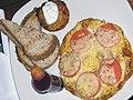 Chorizo frittata with toast, potato tartlet and a blueberry smoothie shot (3293720166).jpg