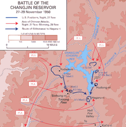 A map showing force emplacements around a lake