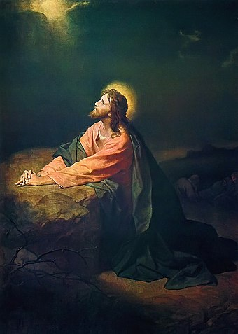 Jesus praying in Gethsemane. Depicted by Heinrich Hofmann Christ in Gethsemane.jpg