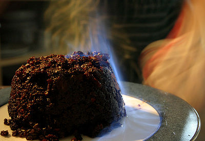 A Christmas Pudding being flamed after brandy has been poured over it - Picture courtesy of Wikipedia