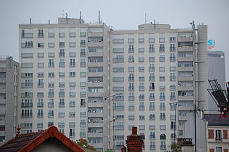 Architecture of Paris - HLM, or public housing project, in the Paris suburb of Saint-Denis