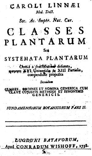 Classes Plantarum - Title page of Linnaeus's Classes Plantarum of 1838.