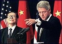 Jiang Zemin and President Bill Clinton
