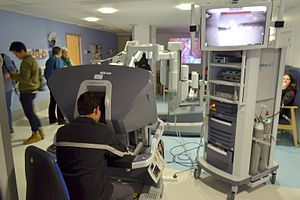 Da Vinci Surgical System - A surgeon console at the treatment centre of Addenbrooke's Hospital