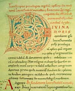 Lorsch codex - First page of the Lorsch Codex