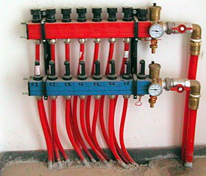 Cross-linked polyethylene - Radiant heating system manifold using PEX tubing