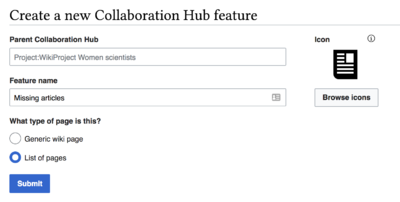 A web form with a text box for the name of the Collaboration Hub, the name of the feature to be created, and set off to the right, an icon selector with an icon resembling a sheet of paper selected to represent the feature.