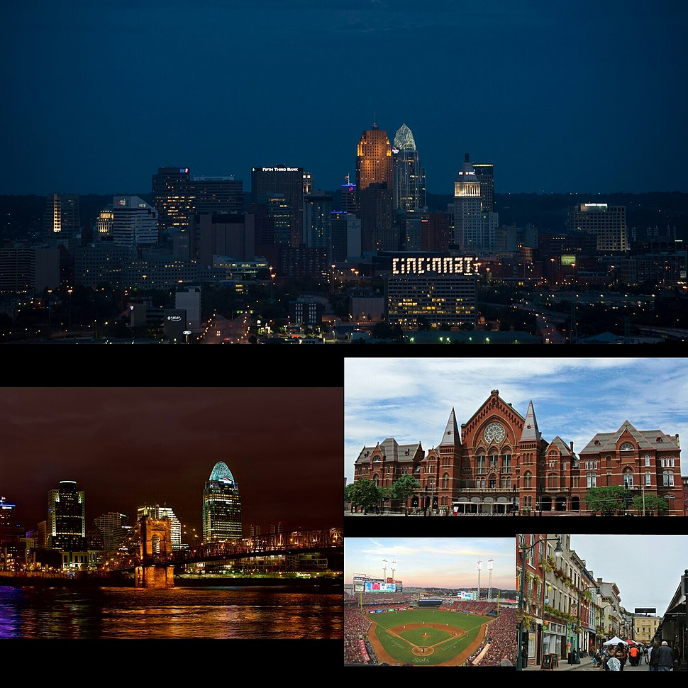 Images, from top, left to right: Cincinnati Skyline, John A. Roebling Suspension Bridge, Cincinnati Music Hall, Great American Ball Park, and the Findlay Market