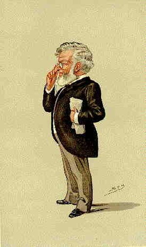 "Jesse Collings - A caricature of Jesse Collings in Vanity Fair, 1888. The caption was ""3 acres and a cow""."