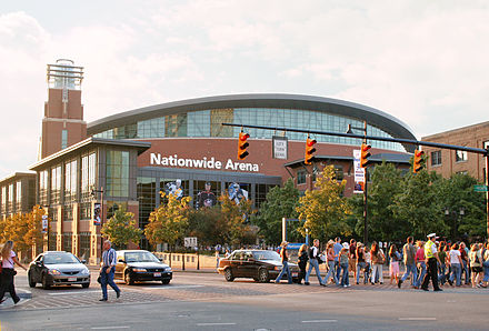 Nationwide Arena, home of the NHL's Columbus Blue Jackets, Arena District Columbus-ohio-nationwide-arena.jpg