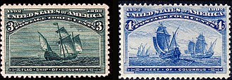 Christopher Columbus - The Flagship of Columbus and the Fleet of Columbus. 400th Anniversary Issues of 1893. (On ships.)