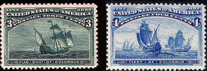 The Flagship of Columbus and the Fleet of Columbus. 400th Anniversary Issues of 1893. (On ships.) Columbus Fleet 1893 Issue.jpg