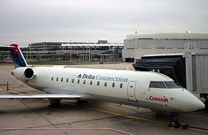 Jacksonville International Airport - A Delta Connection flight (operated by Comair) at the gate at old Concourse A