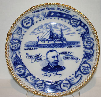 Commemorative plate from the Spanish-American War era honoring George Dewey and his victory. Commemorative plate from the Spanish American War honoring Admiral George Dewey.jpg