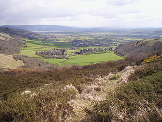 Mendip Way - Compton Bishop showing valley setting, Mendip escarpment, Cheddar reservoir and the Somerset Levels.