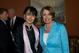 Pelosi with Aung San Suu Kyi, Myanmar's pro-democracy leader, at a Congressional Gold Medal ceremony in 2012 Congresswoman Pelosi honors Daw Aung San Suu Kyi (8281367405).jpg