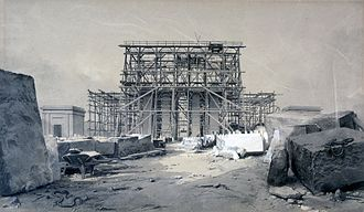 Euston Arch - Construction of the Euston Arch, London, January 1838, by John Cooke Bourne; reminiscent of David Roberts' drawings of ancient Egypt.
