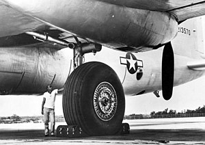 Convair B-36 Peacemaker -  Closeup of the XB-36's single-wheeled portside main gear unit
