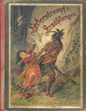 Historical romance - Cover illustration for German a youth edition of James Fenimore Cooper's Leatherstocking Tales.