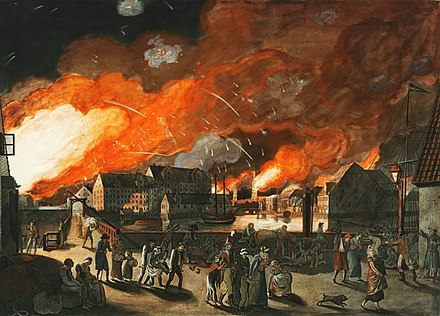 The British bombardment of Copenhagen in September 1807 Copenhagen, the night between 4 and 5 September 1807 seen from Christianshavn.jpg