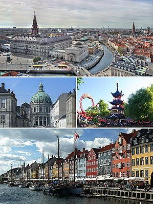 Copenhagen - From upper left: Christiansborg Palace, Frederik's Church, Tivoli Gardens and Nyhavn