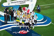 The 2012 Corinthians team celebrating after winning the 2012 FIFA Club World Cup.