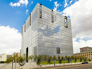 """United States Courthouse for the District of Utah - Looking northeast at the United States Courthouse for the District of Utah (""""Borg Cube""""), September 2015"""
