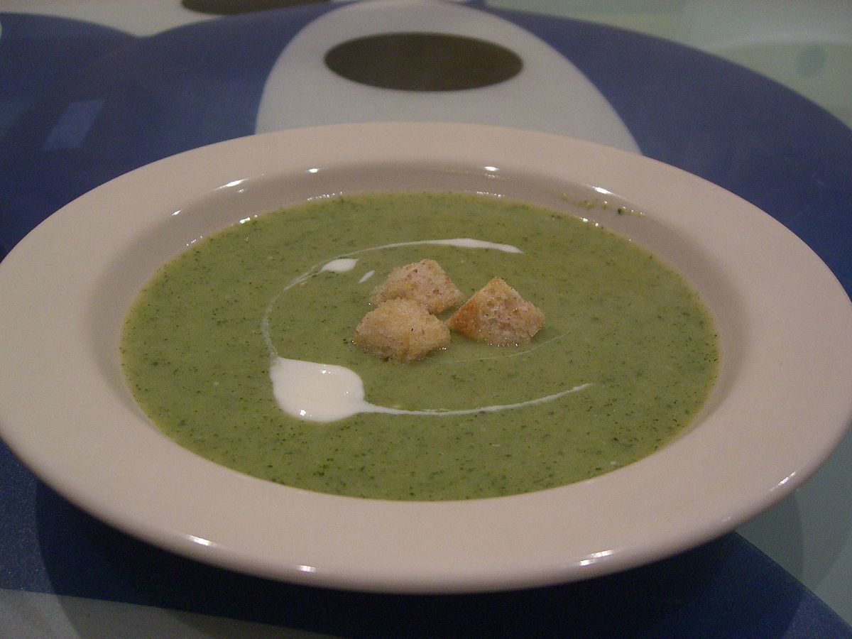 """Cream of broccoli soup"" by Alpha from Melbourne, Australia - Cream of Broccoli Soup. Licensed under CC BY-SA 2.0 via Wikimedia Commons - https://commons.wikimedia.org/wiki/File:Cream_of_broccoli_soup.jpg#/media/File:Cream_of_broccoli_soup.jpg"