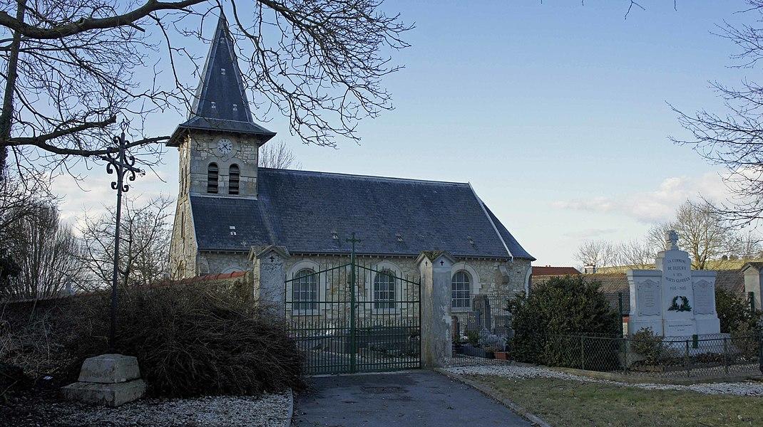 Croix, église, monument aux morts de la commune de Bligny.