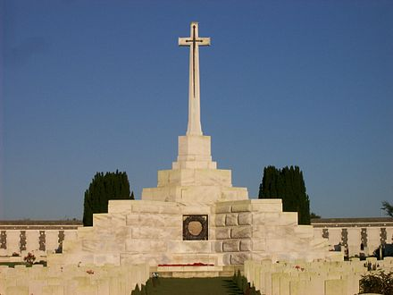 The cross at Tyne Cot Cemetery near Ypres, Belgium, was incorporated into a pillbox. Cross, Tyne Cot.jpg