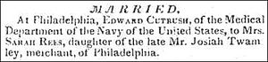 Edward Cutbush - Marriage of Edward Cutbush and Mrs. Sarah Rees - Announced on October 23, 1824