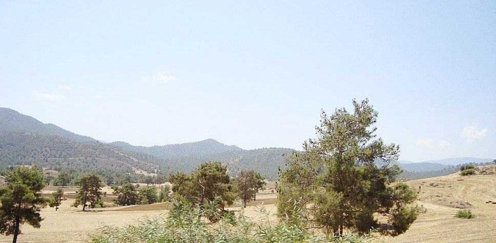 Cyprus countryside on the way to Troodos Mountains in the late summer Republic of Cyprus