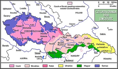Linguistic map of interwar Czechoslovakia (c. 1930) Czechoslovakia 1930 linguistic map - en.jpg