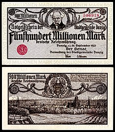Schopenhauer depicted on a 500 million Danzig papiermark note (1923).