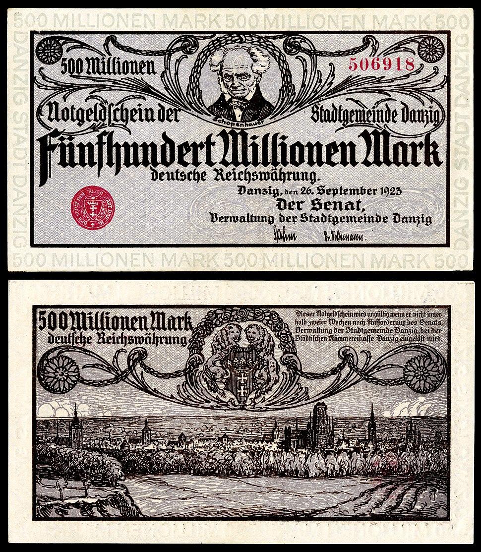 Schopenhauer depicted on a 500 million Danzig papiermark note (1923).