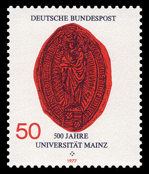 Johannes Gutenberg University Mainz - In 1977, the Deutsche Bundespost (German Federal Post Office) has published 36 special stamps, including a stamp dedicated to the 500th years anniversary of the University of Mainz