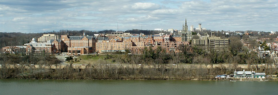 Winter panorama of the portion of campus along the Potomac River