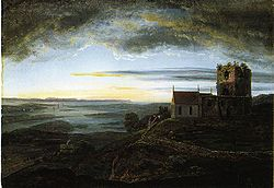 View of St. Olav's Church at Avaldsnes  Johan Christian Dahl (1820)
