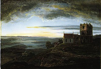 Avaldsnes - View of St. Olav's Church at Avaldsnes   Johan Christian Dahl (1820)